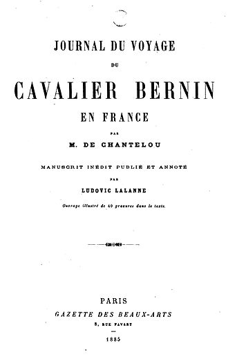 Paul Fréart de Chantelou - Title page of Fréart de Chantelou's Journal du voyage du cavalier Bernin