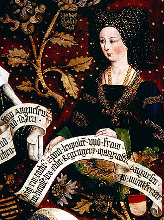 "Judith of Babenberg - An imaginary portrait of Judith of Babenberg, painted by Hans Part in 1490, as part of the Genealogy of the Babenberg Ladies at Klosterneuburg Abbey, founded by her parents. The inscription misnames her husband as ""Renier""."