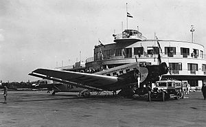 Budaörs Airport - Image: Junkers Ju 52 3m típusú utasszállító repülőgép. Fortepan 6648