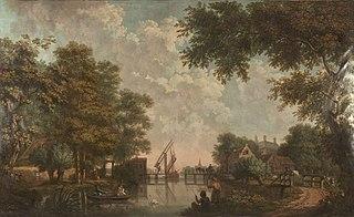 Vijf behangsels met Hollandse landschappen en een trompe-l'oeil van een sierpot, behorend bij de zaal van de Nieuwe Doelenstraat 22