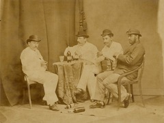 KITLV 181537 - Kassian Céphas - Studio portrait of four men at Yogyakarta - Around 1880.tif