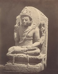 KITLV 87712 - Isidore van Kinsbergen - Sculpture of Shiva from the Dijeng plateau, moved to the Museum of the Batavian Society of Arts and Sciences in Batavia - Before 1900.tif