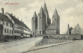 Church of Our Lady, Kalundborg - Old postcard drawing of the church