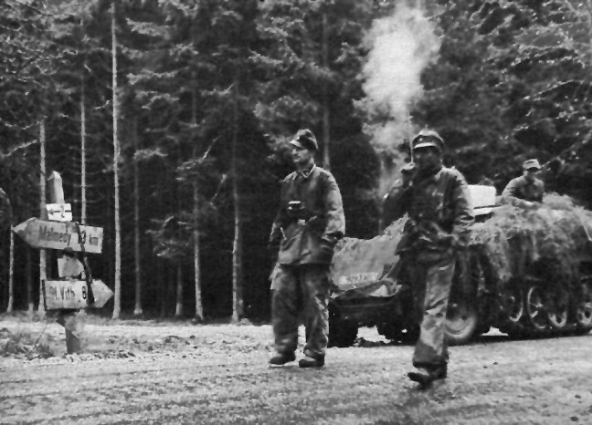 Kampfgruppe Knittel%27s troops on the road to Stavelot