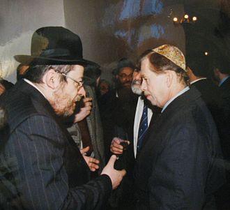 Václav Havel - Václav Havel and Karol Sidon (left), his friend and later chief Czech rabbi