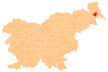 Map of Slovenia, position of Beltinci highlighted