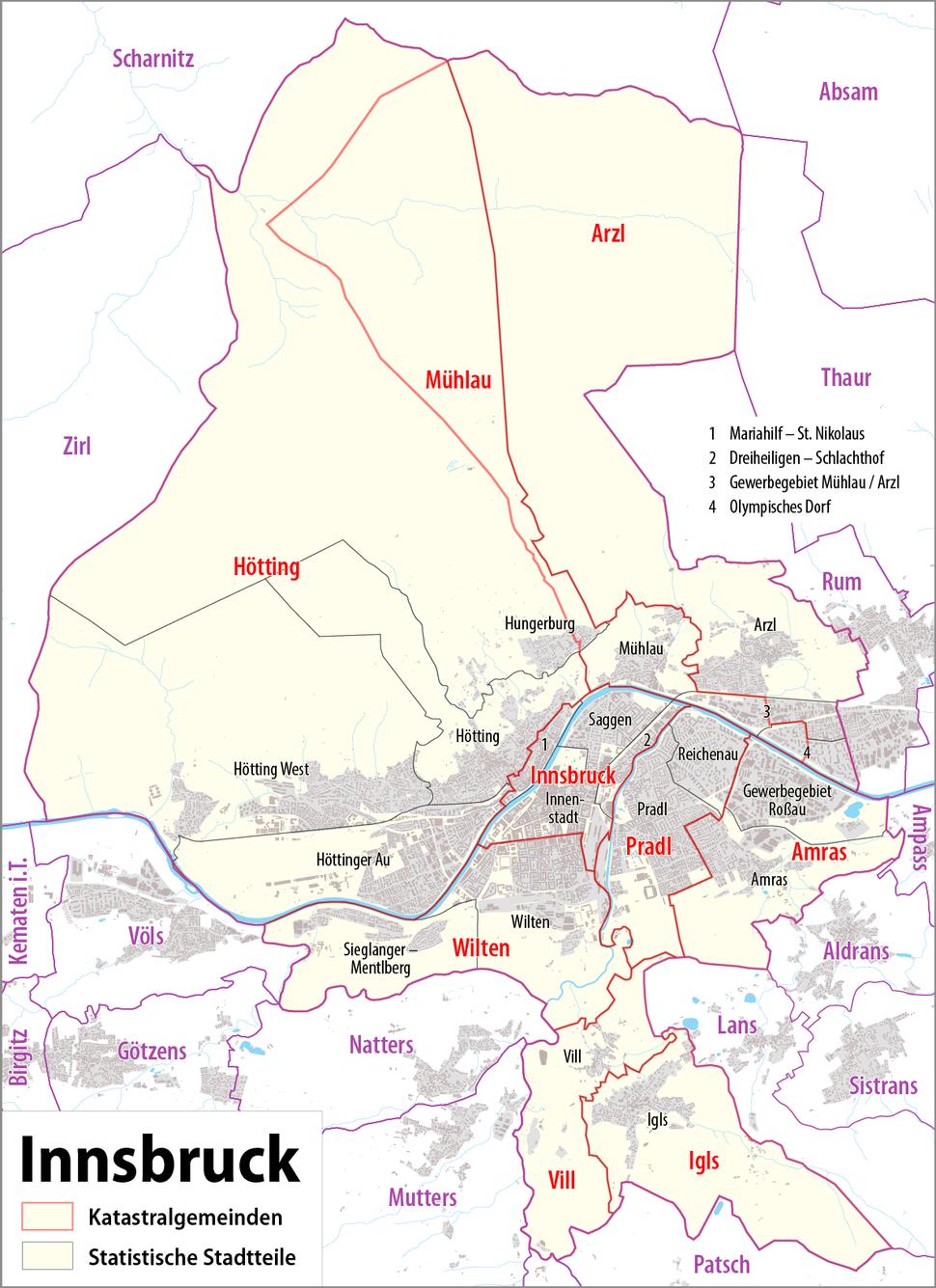 Karte Innsbruck - Katastralgemeinden und Statistische Stadtteile