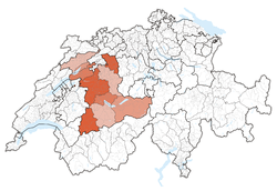 Map of Switzerland, location of Bern highlighted
