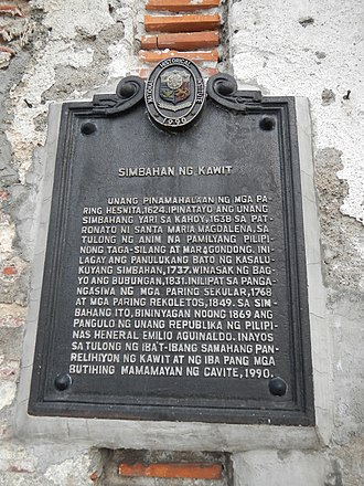 St. Mary Magdalene Church (Kawit) - The historical marker placed by the National Historical Commission of the Philippines in 1990
