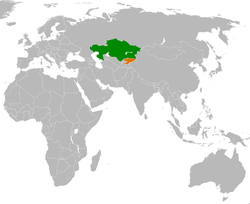 Map indicating locations of Kazakhstan and Kyrgyzstan