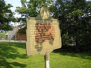 Kenton County, Kentucky - Historical marker for the county in Independence