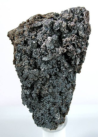 Långban - A specimen of massive braunite with sparkling microcrystalline kentrolite, from the Norrbotten working, Långban.