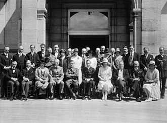 Rideau Hall - Princes Edward (later King Edward VIII) and George (later the Duke of Kent), along with Governor General the Earl of Willingdon, outside Rideau Hall's main door, August 1927