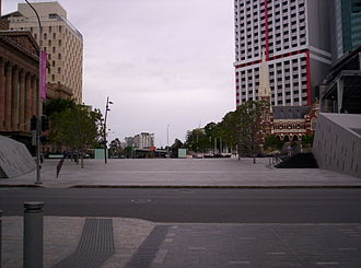 King George Square - King George Square, showing the two Adelaide Street entrances to the King George Square busway station  (seen at the two sides of the photo)