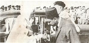 University of Libya - King Idris (left) shaking hands with Prime Minister Wanis al-Qaddafi at the establishment of the new campus of the university in 1968