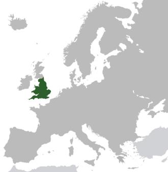 Lage des Königreichs England in Europa