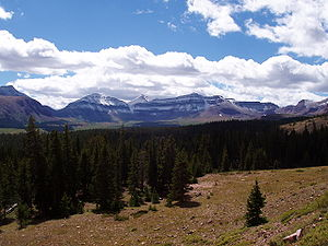 Uinta Mountains - This view of Kings Peak and the Henry's Fork Basin shows the cliff bands and basins typical throughout the Uintas.