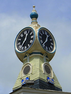 Kingsbridge - Clock on the old Town Hall building