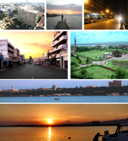 Clockwise: جھیل وکٹوریہ Panorama, Kisumu Panorama, sunset at Oginga Odinga street, Downtown, Kiboko Point, Nighttime in Kisumu and Jomo Kenyatta Stadium.