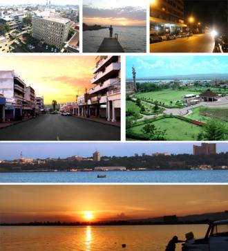 Kisumu - Clockwise: Lake Victoria Panorama, Kisumu Panorama, sunset at Oginga Odinga street, Downtown, Kiboko Point, Nighttime in Kisumu and Jomo Kenyatta Stadium.