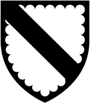 Baron Berners - Arms of Knyvett: Argent, a bend sable a bordure engrailed of the last