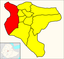 Kolfe Keranio (red) within Addis Ababa