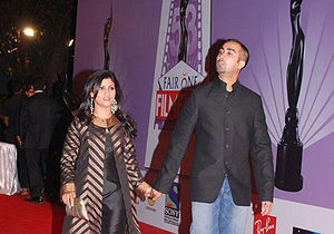 Konkona Sen Sharma - Konkona Sharma with her husband Ranvir Shorey at the 53rd Annual Filmfare Awards (2008)