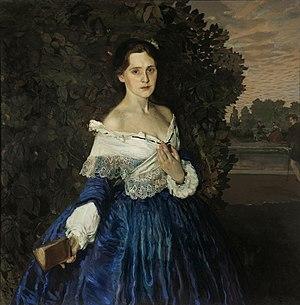 Картина девушки в синем платье