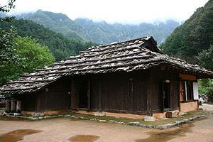 Hanok - Korean traditional Bark shingled house, Neowajib or Gulpijip (굴피집) in Gangwon Province.