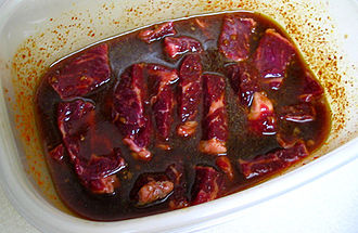Marination - Beef marinating for a Korean barbecue dish