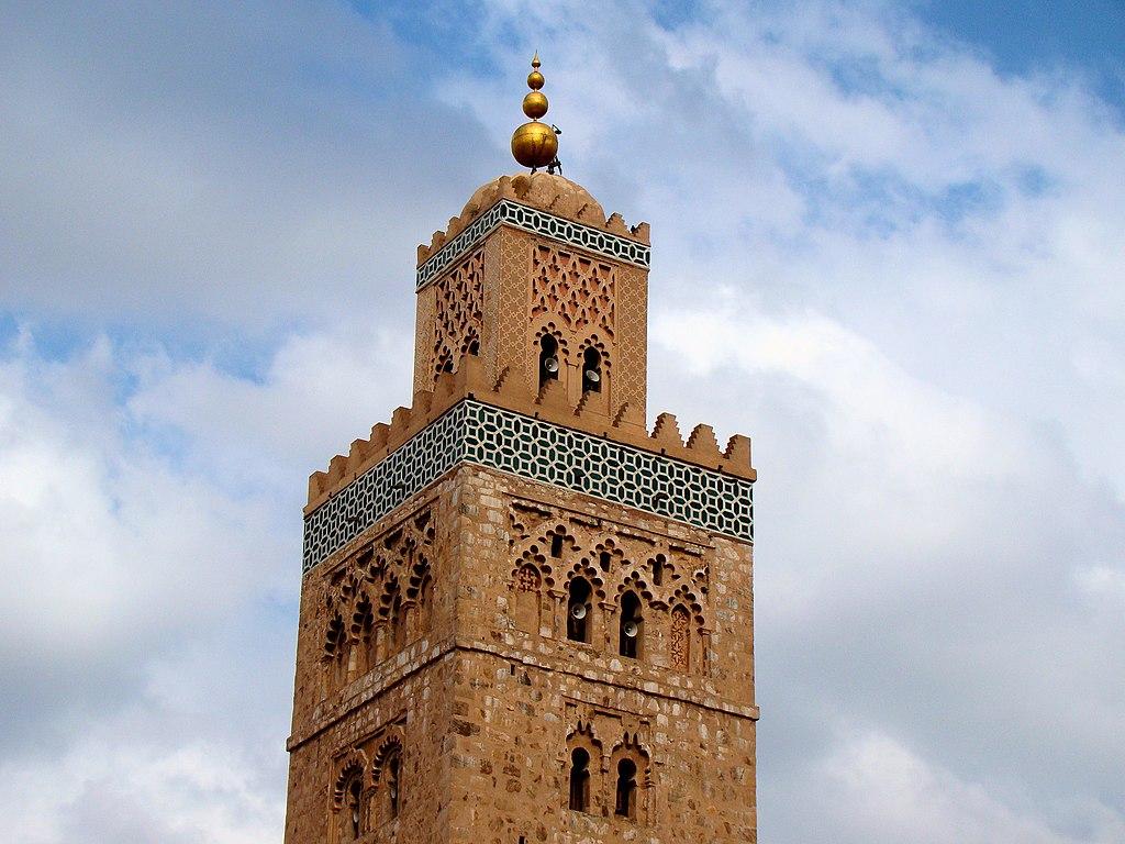 Minaret de la mosquée Koutoubia à Marrakech au Maroc.