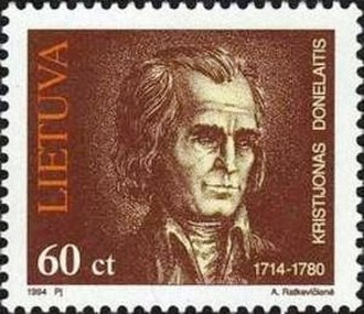 Kristijonas Donelaitis - Donelaitis on a 1994 Lithuanian stamp