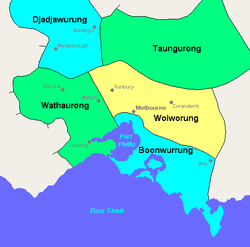The image is a map of the Melbourne area with coloured areas labelled (n a clockwise direction from the west of Port Philip Bay around to the east: 'Wathaurong', 'Djadjawurung', 'Taungurong', 'Woiworung', and 'Boonwurrung'.