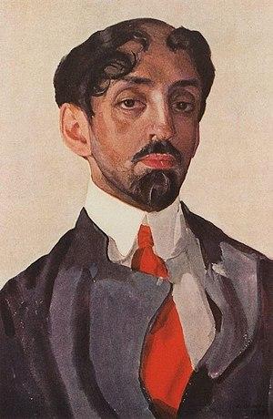 Mikhail Kuzmin - Portrait by Konstantin Somov (1909).