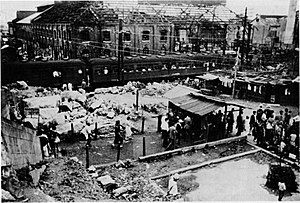 Bombing of Osaka - Kyobashi Station on June, 1946 (ten months after the raid)