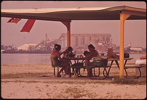 Olin Corporation - A family has lunch in Lake Charles, Louisiana, on the beach opposite the Olin Mathieson chemical plant, 1972
