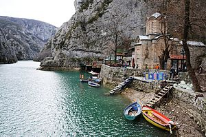 Matka Canyon - St. Andrew's Monastery on the water