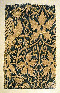 Lampas with phoenix silk and gold Iran or Irak 14th century.jpg