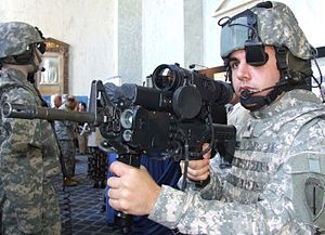Land Warrior - A U.S. Army soldier showcases Land Warrior at the Rayburn House Office Building in Washington, D.C. in June 2007.