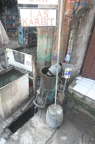 Acetylene - Acetylene fuel container/burner as used in the island of Bali