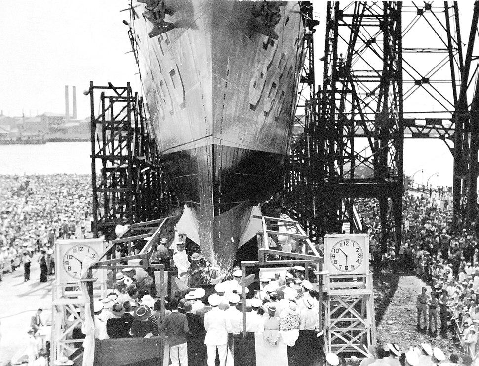 Launching of USS Bagley (DD 386) at Norfolk Navy Shipyard, Norfolk, Virginia, 1936 (19358805443)