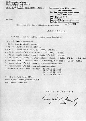 Irmfried Eberl - A letter of Irmfried Eberl to the Commissioner of the Warsaw Ghetto Heinz Auerswald dated 19 June 1942 concerning the delivery of materials and equipment for the camp