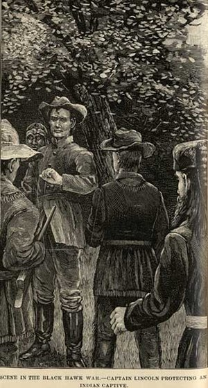 Francis Fisher Browne - An illustration from Browne's 1886 work The Every-day Life of Abraham Lincoln. The scene depicts a young Captain Lincoln protecting a Potawatomi from his own men during the 1832 Black Hawk War. The story has been often repeated as an illustration of Lincoln's moral character.
