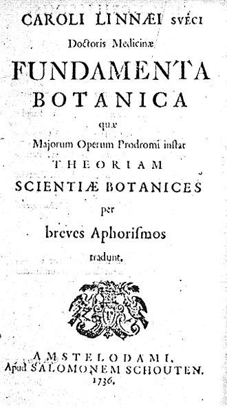 Fundamenta Botanica - Title page of Linnaeus's Fundamenta Botanica of 1736.