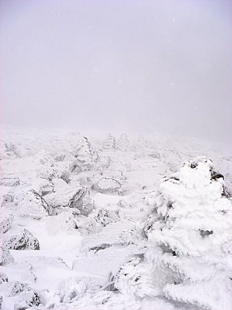 Cairn - Line of cairns used to mark the way above the treeline on Mount Washington, New Hampshire, US