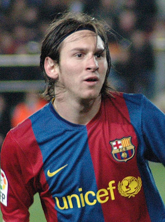 Lionel Messi wearing a Barcelona shirt with the UNICEF logo in 2007 Lionel Messi 31mar2007.jpg