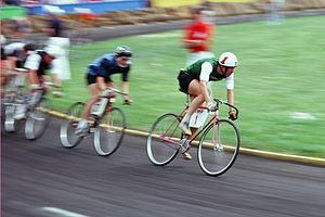 Little 500 - Riders compete in the Little 500 in 1977 at the Tenth Street Stadium