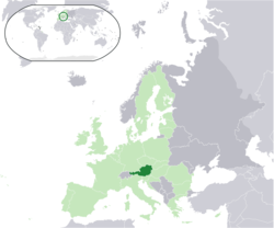 Location of  ਆਸਟਰੀਆ  (dark green)– in Europe  (light green & dark grey)– in the European Union  (light green)  —  [Legend]