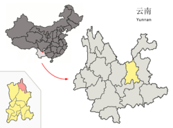 Location of Dongchuan (pink) within Kunming (yellow), Yunnan (light grey)