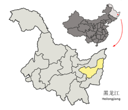 Location of Shuangyashan City (yellow) in Heilongjiang (light grey) and China